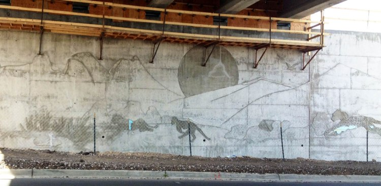 Modern humans cannot help but be inspired by jaguars either. Jaguar art on Underpass in Las Cruces NM; image courtesy of Richard Mahler.