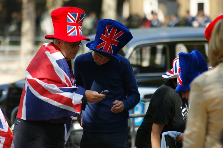 These individuals might not appreciate being told to think of themselves as European instead of British. Patriotic fans on The Mall by Not Enough Megapixels. CC BY-NC-ND 2.0