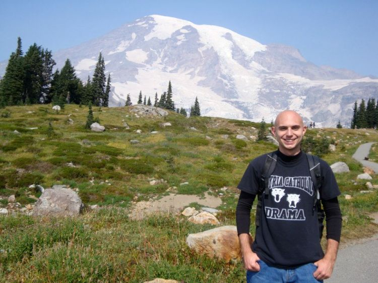 Hiking on Mount Rainier in 2012.