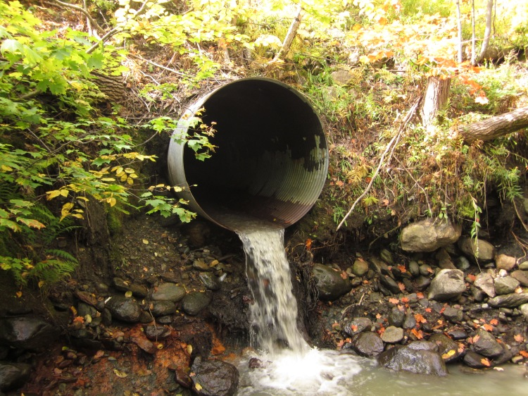 Michael indicated that metal culverts, such as this, are poorly suited to the Mattole region: they have difficulty handling the large amounts of rain that fall every winter and allow too much sediment to flow downhill. He recommends the use of rock fords instead. Culvert With a Drop by Sickter6. CC BY-SA 3.0