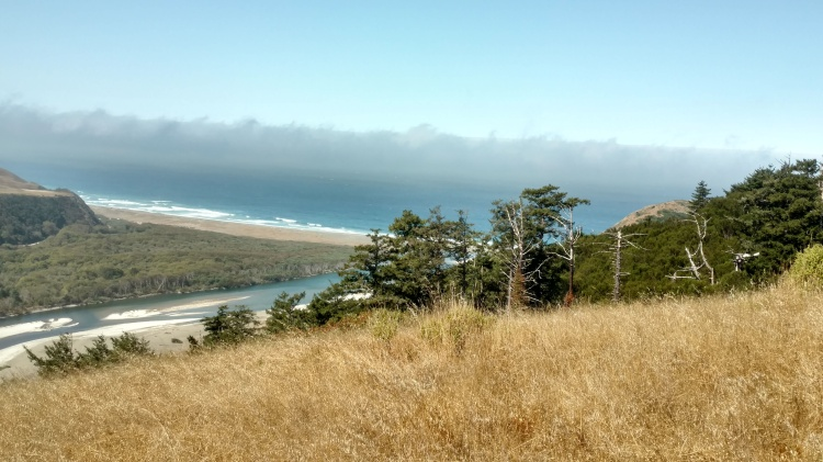The view from the Lost Coast Ranch. The river in this picture is the Mattole, and the larger body of water it runs into is the Pacific Ocean.