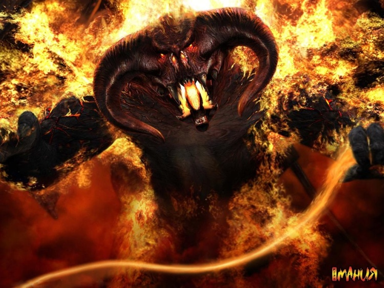 A Balrog with a flaming whip.