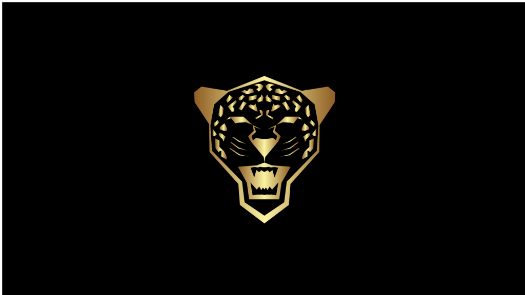 A logo with a snarling leopard.