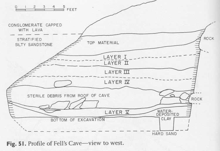 An archaeological profile of a site's stratigraphy.