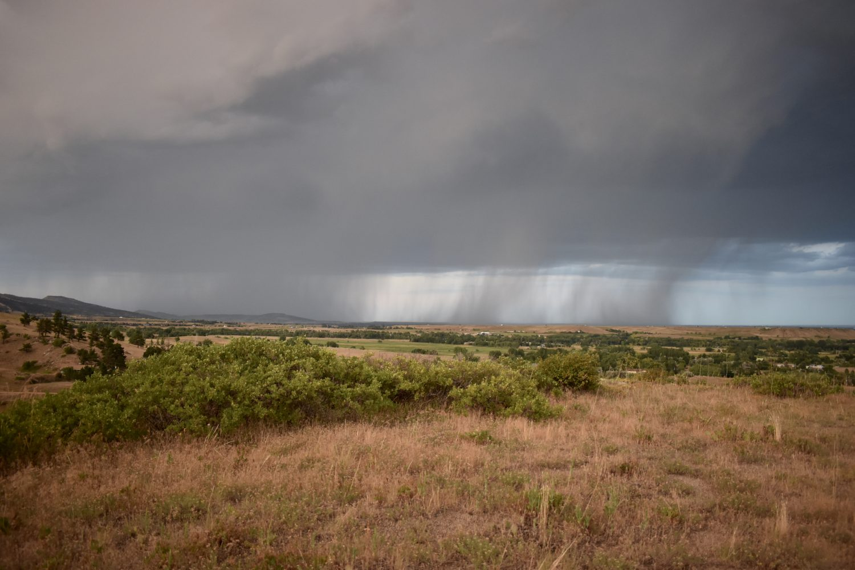 A distant rainstorm.