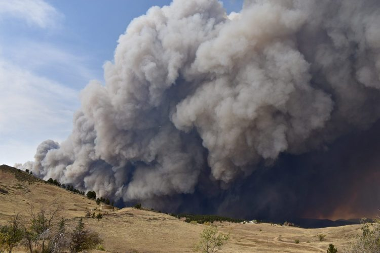 A giant smoke plume from a wildfire.